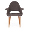 Forza Upholstered Armchair - Wood Legs, Dark Brown Twill Seat - WI-DC-594-431-13B
