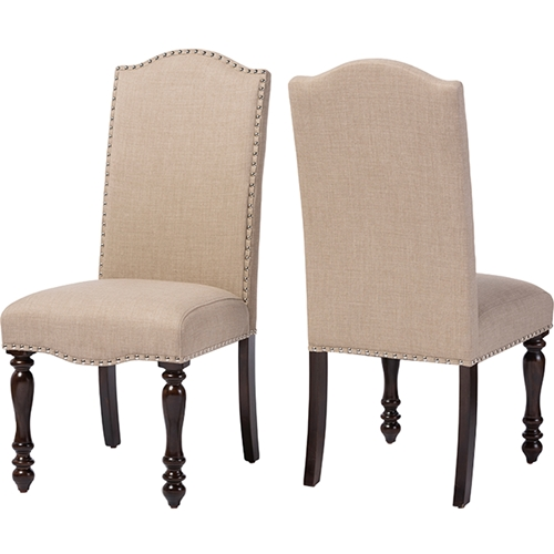 Zachary Upholstered Dining Chair Brown Beige Set Of 2