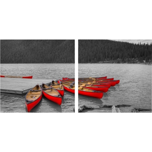 Crimson Canoes Mounted Photography Print Diptych - Multicolor