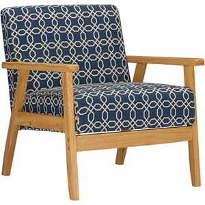 Francis Patterned Fabric Armchair - Navy Blue