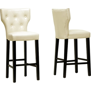 Billings Bar Stool - Button Tufted, Beige (Set of 2)