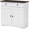 Lauren 2 Doors Buffet Kitchen Cabinet - White, Wenge
