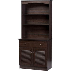 Agni Buffet and Hutch Kitchen Cabinet - Dark Brown