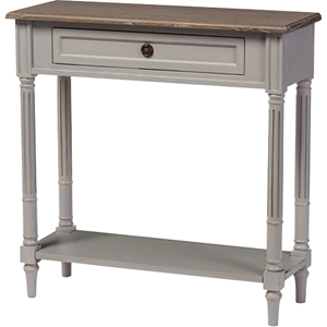 Edouard 1 Drawer Console Table - White Wash, Light Brown