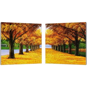 Autumnal Boulevard Mounted Print Diptych - Multicolor