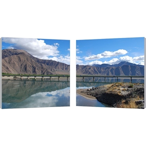 Causeway Through The Mountains Photography Print Diptych - Multicolor