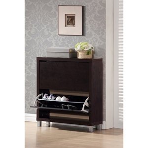 Simms 2 Tiers Shoe Cabinet - Dark Brown