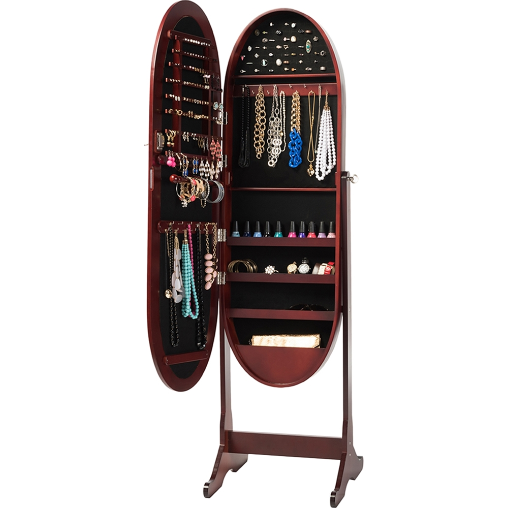 Apache Free Standing Cheval Mirror Jewelry Armoire - Brown ...