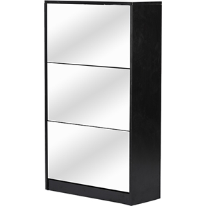 Albany Shoe Storage Cabinet - Mirror, Black