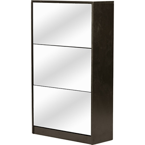 Albany Shoe Storage Cabinet - Mirror, Brown