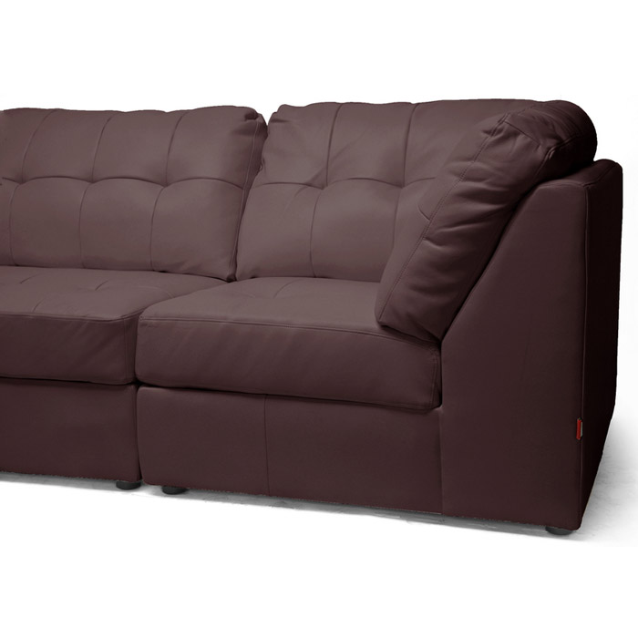 warren modular sectional dark brown leather wi