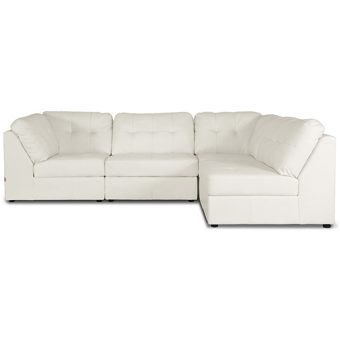 warren modular sectional white leather wi
