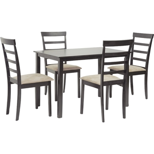 Jet Sun Dark Brown/Beige 5-Piece Dining Set - Dark Brown, Beige