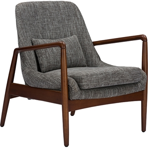 Carter Upholstered Leisure Accent Chair - Gray Fabric, Walnut Wood
