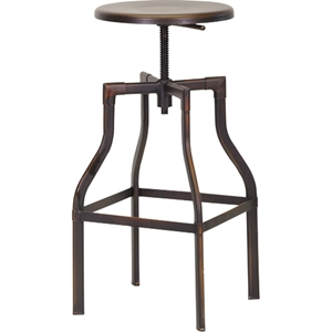 Architects Backless Bar Stool - Adjustable Height, Antiqued Copper