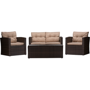 Imperia 4-Piece Outdoor Patio Set - Brown, Light Brown