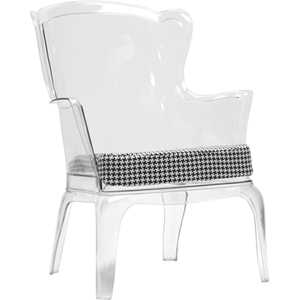 Tasha Clear Polycarbonate Modern Accent Chair - Clear, Dark Gray