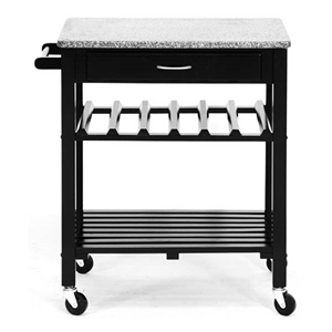 Quebec Black Wheeled Modern Kitchen Cart