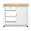 Denver Kitchen Cart - Natural Top, White Base, Cabinet, Casters - WI-RT185-OCC