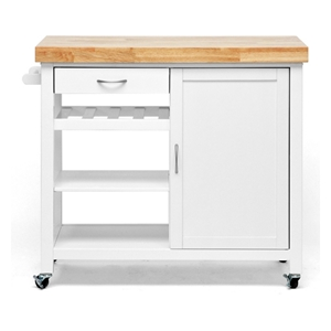 Denver Kitchen Cart - Natural Top, White Base, Cabinet, Casters