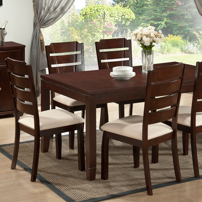 Victoria 7 Pieces Dining Set   Extension Leaf, Cappuccino, Beige Fabric    WI  ...