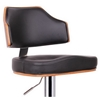 Cabell Swivel Bar Stool - Walnut Veneer, Black Seat, Chrome Base - WI-SD-2159-WALNUT-BLACK-PSTL