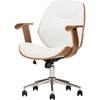 Rathburn Swivel Office Chair - White, Walnut Brown
