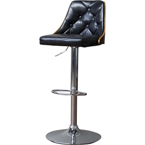 Wellington Button Tufted Bar Stool - Black, Walnut