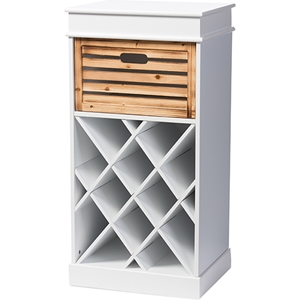 Dresdon 1 Drawer Cabinet - Wine Rack, Antique White