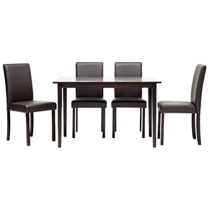 Susan 5-Piece Dining Set in Brown