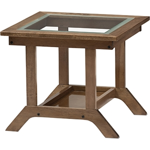 Cayla Living Room Glass Top End Table - Walnut Brown