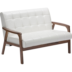 Masterpieces Faux Leather Loveseat - White