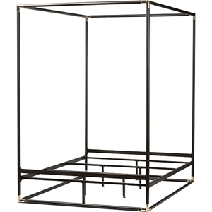 Eva Metal Canopy Queen Bed - Black