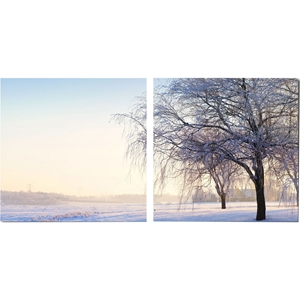 Snowy Solitude Mounted Photography Print Diptych - Multicolor