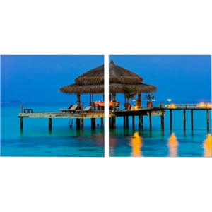 Dinner in The Tropics Mounted Photography Print Diptych - Multicolor