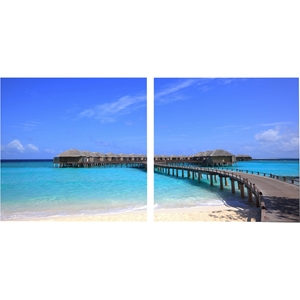 Bridge To Paradise Mounted Photography Print Diptych - Multicolor