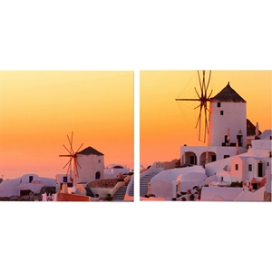 Grecian Crossroads Mounted Photography Print Diptych - Multicolor