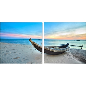 Awaiting Waters Mounted Photography Print Diptych - Multicolor