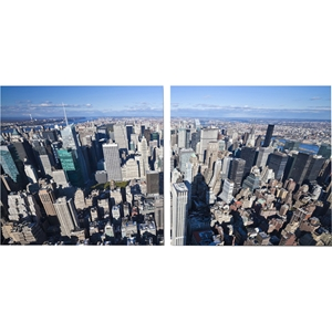 Aerial Manhattan Mounted Photography Print Diptych - Multicolor