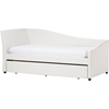 Vera Faux Leather Twin Daybed - Roll-Out Trundle Bed, White - WI-VERA-WHITE-DAYBED