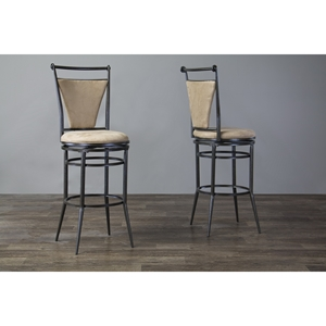Majorca Swivel Bar Stool - Black, Beige (Set of 2)