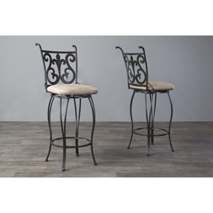 Lyre Swivel Bar Stool - Black, Beige (Set of 2)