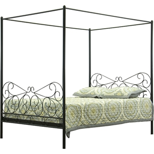 Antiquity Metal Queen Canopy Bed - Black