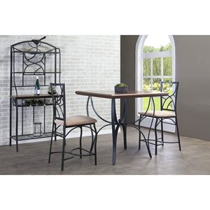 Valletta 3-Piece Pub Set - Black, Beige