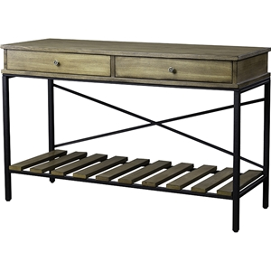 Newcastle 2 Drawers Console Table - Brown, Antique Bronze