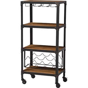 Swanson Mobile Kitchen Bar Wine Cabinet - Antique Black, Antiqued Bronze
