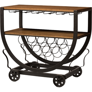 Triesta Wheeled Wine Rack Cart - Antique Black and Brown
