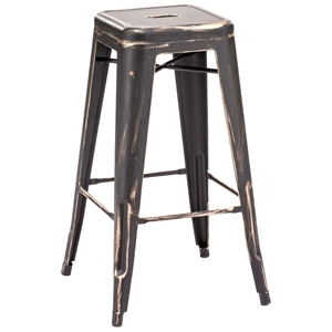 "Marius 29"" Backless Bar Chair - Steel, Antique Black Gold"