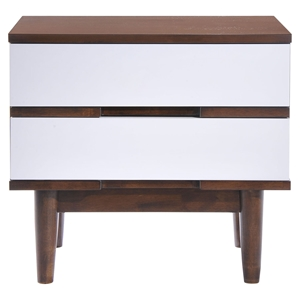 LA Nightstand - Walnut and White