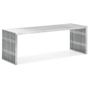 Novel Brushed Stainless Steel Bench - Large